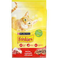 Friskies для взрослых кошек с мясом, курицей и печенью