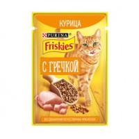 Friskies влажный корм для взрослых кошек с курицей и гречкой 75гр.