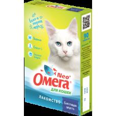 Омега Neo лакомство для кошек Блестящая шерсть 90 таб.
