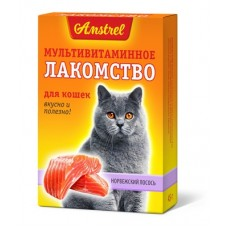 Amstrel мультивитаминное лакомство для котов Норвежский лосось 90 таб.